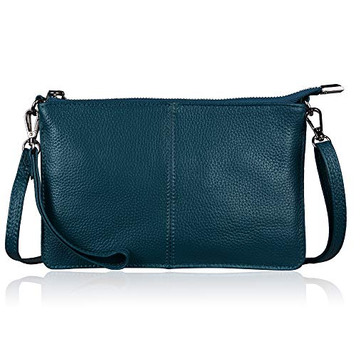 Befen Women's Leather Wristlet Clutch Phone Wallet Mini Crossbody Purse Bag with Card Slots (Teal)
