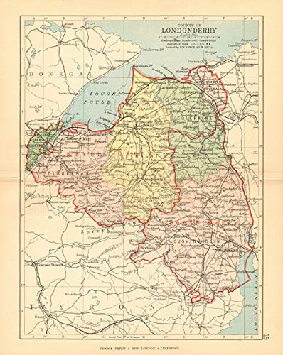 County Map Of Northern Ireland.Amazon Com Co Londonderry Antique County Map Ulster
