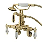 Kingston Brass CC1303T2 Heritage Vintage Leg Tub Filler with Hand Shower, Polished Brass