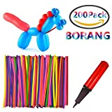 Borang 200PCS 260Q Twisting Animal Balloons with Balloon Pump Assorted Color Thickening Latex Twisting Modeling Long Magic Balloons for Animal Shape Weddings, Birthdays Clowns, Party Decorations