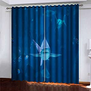 Capsceoll 52X63 Inch 2 Panels Shark Swimming Camera in Aquarium Silvertip Toward Sentosa Singapore Window Curtain Panels for Home Kitchen Bedroom,Girls and Boys Curtains