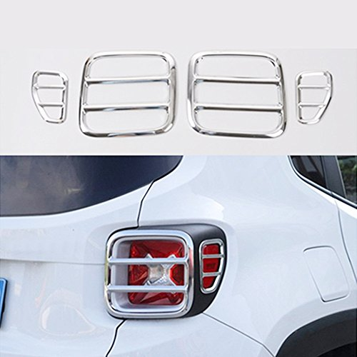Jeep Renegade Tail Light Cover,Metal Taillights Lamp Protector Guard Cover Trim For Jeep Renegade 2015 2016 Set Of 4 (Silver))