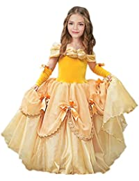 Belle Costume for Girls Yellow Princess Dress Party Christmas Halloween Cosplay Dress up 2-13 Years