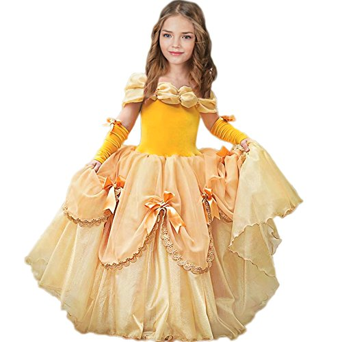 CQDY Belle Costume for Girls Yellow Princess Dress Party Christmas Halloween Cosplay Dress up 2-13 Years ()