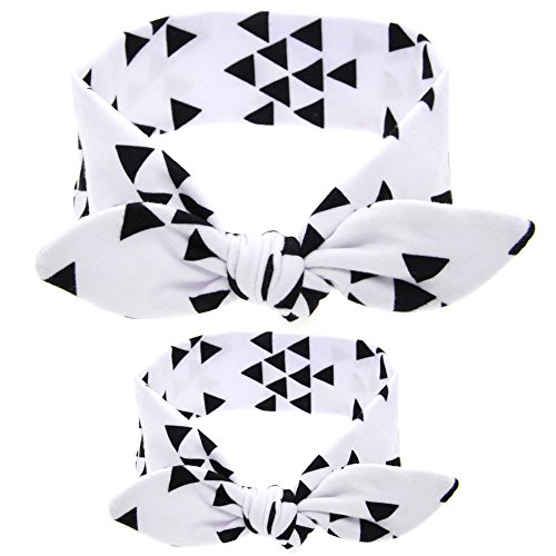 2 Mother Daughter Bandana Style Headwrap & Bow Hair Ties - Cotton & Spandex Stretches For Best Comfort & Fit - Baby & Mom Dress Up Scarf Head Band Wrap In Classic 4 Colors (Scarf Tail Headband)