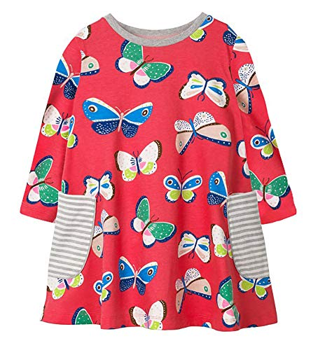 Fiream Girls Cotton Casual Longsleeve Butterfly Cartoon Dresses(7704,3T/3-4YRS) ()