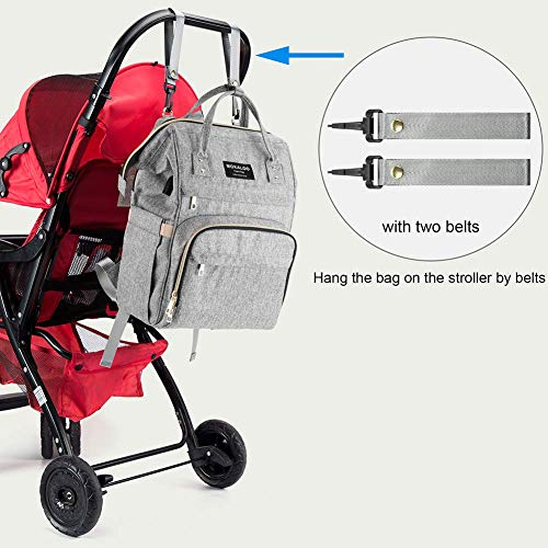 51RP17GTypL Diaper Bag Backpack, Mokaloo Large Baby Bag, Multi-functional Travel Back Pack, Anti-Water Maternity Nappy Bag Changing Bags with Insulated Pockets Stroller Straps and Built-in USB Charging Port, Gray    Product Description