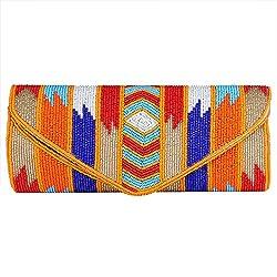 Royal Pitarah Women's Flap Beaded Clutch Muticolour Flap Clutch
