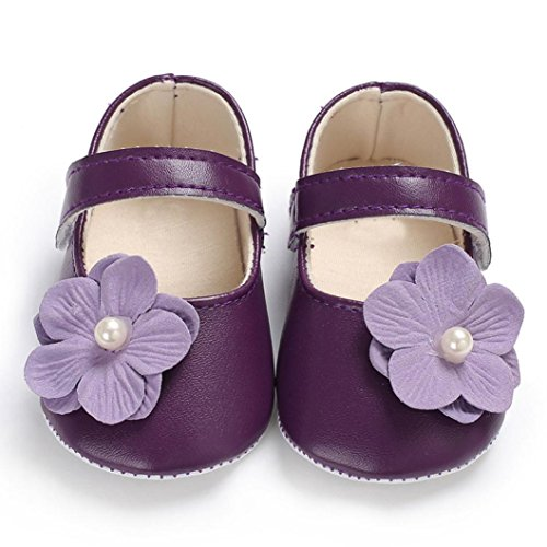 700b5f30a2bb WOCACHI Baby Girls Shoes Flowers Soft Sole Crib Shoes for Toddler Newborn  Infant Kids Girl Purple