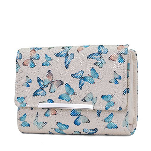 Mundi Small Womens RFID Blocking Wallet Compact Trifold Safe Protection Clutch With Change Purse (Flutter) by Mundi