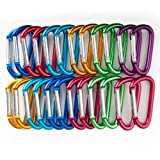 GOGO 24 PCS Aluminum D-shaped Carabiners in Assorted Colors, Gift Idea, Outdoor Stuffs