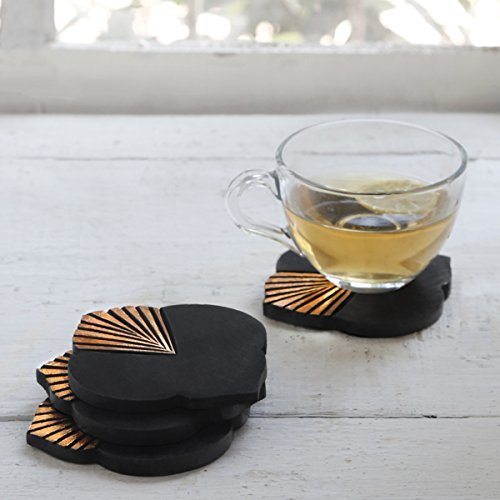 Art Deco Set Table - storeindya Handmade Set of 4 Wood Coasters Absorbent Drink Coaster (Foil Faded Collection) Tea Coffee Table Accessories Décor for Him and Her Men Women - Perfect Gift for Mothers Day