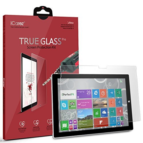 iCarez Microsoft New Surface Pro 2017 / Surface Pro 4 / Pro 6 Screen Protector, [Tempered Glass] Premium Easy Install with Lifetime Replacement Warranty - Retail Packaging ()