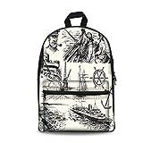 Design the fashion fo Kids Back to School Backpack, Canvas Book Bag,Nautical Decor,Fisherman Captain Seaman Sailboat Old Historic Sketch Monochromic Artwork.