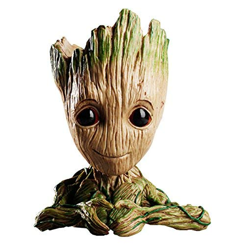 Flowerpot Treeman Heart-Shaped Groot Succulent Planter Cute Green Plants Flower Pot with Hole Pen Holder (Small)
