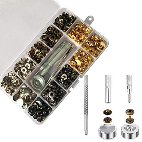 Odowalker 120 Sets 4 Colors Snap Fasteners Kit 633# Button Press Popper Studs 0.49 inch in Diameter with 4 Pieces Fixing Tools Sew and Mend Kits for Clothes Bags Wallet Jacket Jeans Trousers Shirts by Odowalker