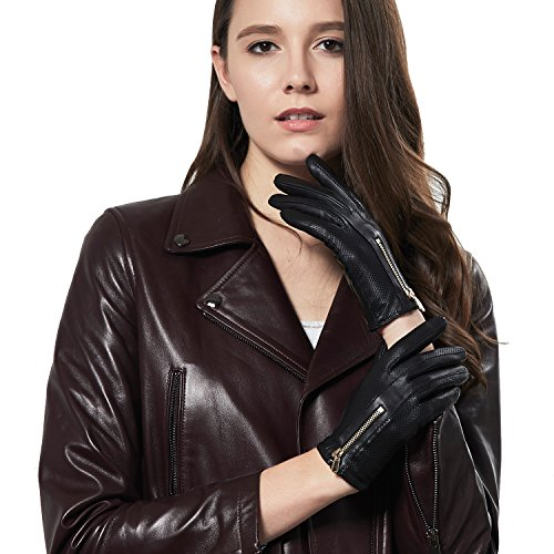GSG Womens Trendy Italian Nappa Leather Touchscreen Driving Gloves Ladies Perforated Gloves Winter Zipper 8 -