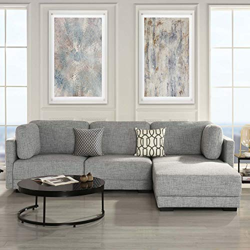 Modular Sectional Sofa Couch | Convertible Sofa Sectional with Reversible Chaise Ottoman, 3 Piece (Custom Couch Feature) Modern L-Shaped Sectional Sofa from 2Pc Loveseat to Chaise Ottoman Sofa, Grey