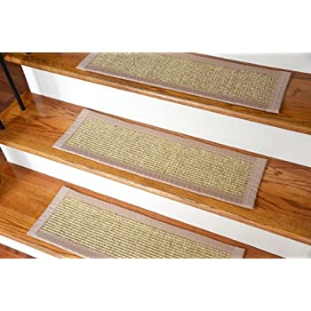 Dean Non Skid Sisal Carpet Stair Tread Runner Rugs   Desert Sand Beige (Set