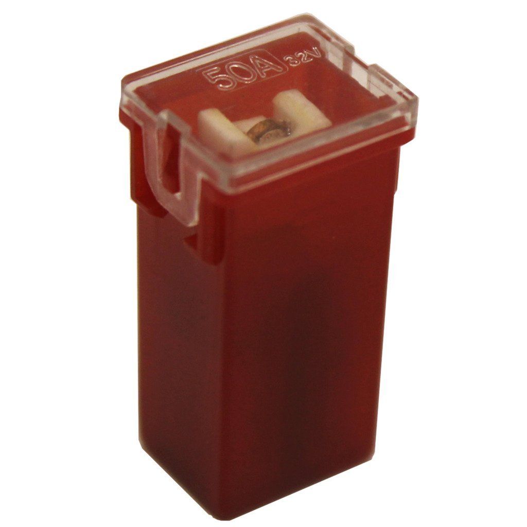 All Trade Direct 1 X 50 Amp Red Pal Pacific Type J Case Cartridge Female Slow Blow Fuse 50A