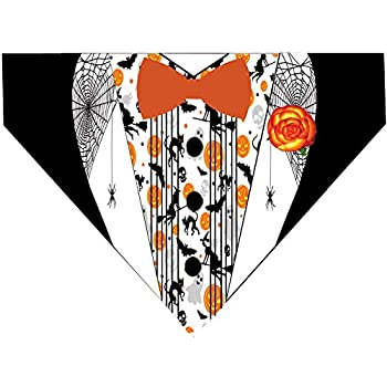 Halloween Over the Collar Dog Bandana - Pumpkin Tuxedo