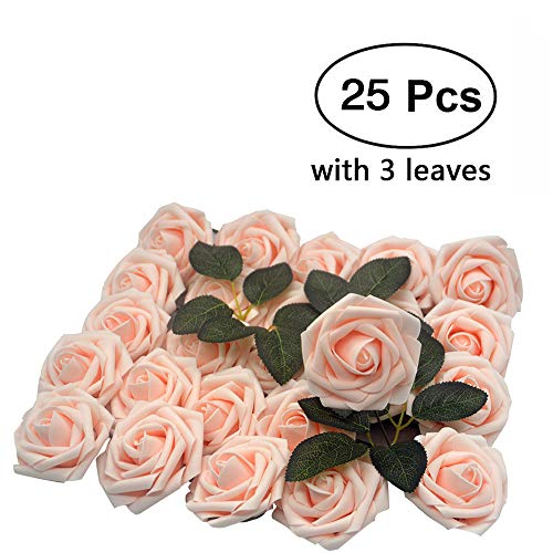Lmeison Artificial Flower Rose, 25pcs Real Looking Artificial Roses w/Stem for Bridal Wedding Bouquets Centerpieces Baby Shower DIY Party Home Décor, Blush with 3 Leaves