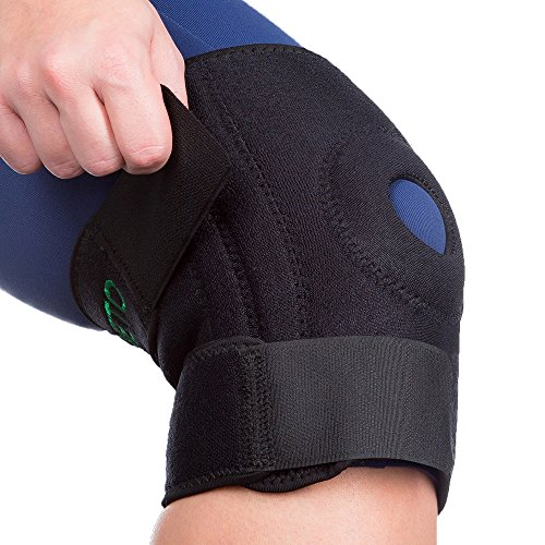 Knee Brace with support and compression capacity, dual side stabilizers, Open Patella, Interchangeable design features non-slip protective belts and extra-thick neoprene - Pain Relief Knee Protector