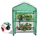 Finether Garden Greenhouse: 2-Tier Mini Grow House with 4Casters(2 with brakes) and Clear Cover for Indoor Outdoor Herb Flower Courtyard Balcony Portable-69 cm W x 49 cm D x 95 cm H