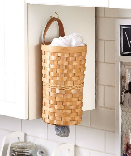 Natural Basket Grocery Plastic Trash Bag Wall Hanging Dispenser Kitchen Organizing Decor by KNL Store