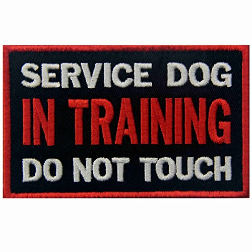 (Service Dog in Training Do Not Touch Vests/Harnesses Emblem Embroidered Fastener Hook & Loop Patch)