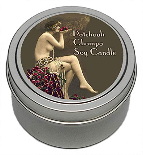(Patchouli Champa Pin Up Girl Handmade Scented Soy Candle Tin | 5 ounces | Vintage Retro Label Design | by Bella Des Natural Beauty)