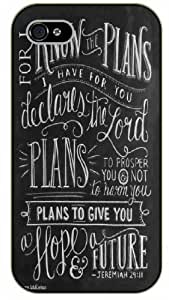 iPhone 4 / 4s Bible Verse - White chalk. For I know the plans I have for you. Declares the Lord. Jeremiah 29:11 - black plastic case / Verses, Inspirational and Motivational