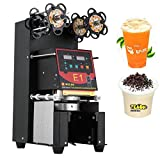 VEVOR Fully Automatic Tea Cup Sealing Machine 500~650 Cups/H Cup Sealer Machine Digital Control LCD Panel for Bubble Milk Tea Coffee Smoothies Sealer (Black)