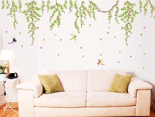 Wallmates Home Decor Vinyl Wall Sticker Green Leaf Bird Kids Room Decal Art Mural Wallpaper