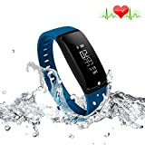 Fitness Tracker Heart Rate Monitor Blood Pressure Bracelet Sedentary Reminding Sleep Management Alarm SNS Call Reminder Pedometer Sport Activity Healthy Wristband with OLED Touch (Blue)