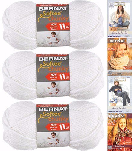 Bernat Softee Chunky Yarn Bundle Super Bulky Number 6, 3 Skeins, White - Patterns Bernat Crochet