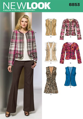 Simplicity Creative Group, Inc New Look Sewing Pattern 6853 Misses Jackets, Size A (10-12-14-16-18-20-22)