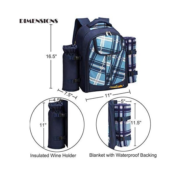 51RP3rzUPhL apollo walker Picknickrucksack für 4 Personen mit Fleece-Decke und Kühlfach (Blau)