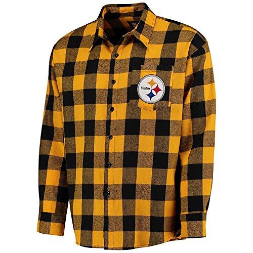NFL Mens Large Check Long Sleeve Flannel Shirt (Pittsburgh Steelers , Medium) ()