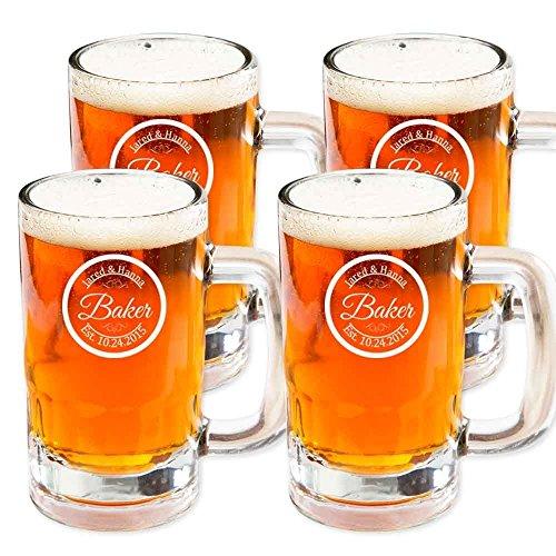 Personalized Beer Mug Glass, Customized Mug Stein Glass, Set of 4 Housewarming Gifts, Wedding Favors, (Beer Mug 14oz.)
