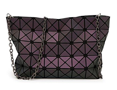 Chain with Sulliva Geometric Cross Strap Women's Bag Kayers body Luminous Black Fashion Shoulder Metal Plaid Purse qwvOvtd