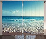 family room design Ambesonne Modern Decor Curtains, Sunset on Seychelles Beach Summer Holiday Exotic Shore Dreamy Tropic Sun Design, Living Room Bedroom Window Drapes 2 Panel Set, 108W X 84L inches, Turquoise