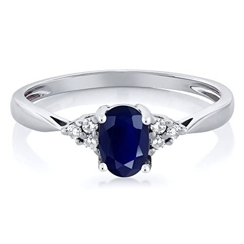 Gem Stone King 14K White Gold Blue Sapphire and Diamond Women s Ring 0.61 cttw Available 5,6,7,8,9