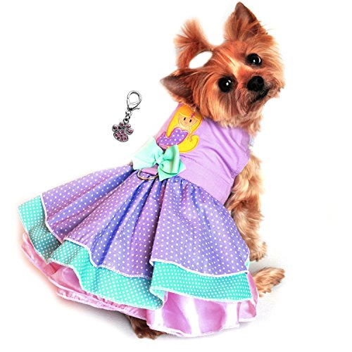 "(Doggie Design Charmed Lavender Mermaid/Polka Dot Party Harness Dress-Sizes XS-L (X-Small- Chest 10""-13"", Neck 7""-10"", Lavender Pink))"