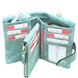 Rfid wallets for women Leather Ladies Wallet Wristlet Large Capacity Zipper Purse for Coin Card Trifold(Green)