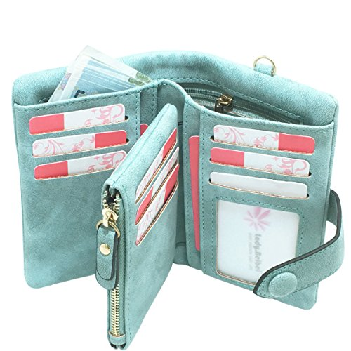 Rfid Leather Wallets for Women Ladies Wristlet Clutch Large Capacity Zipper Purse for Coins Card Holder Organizer(Green) ()