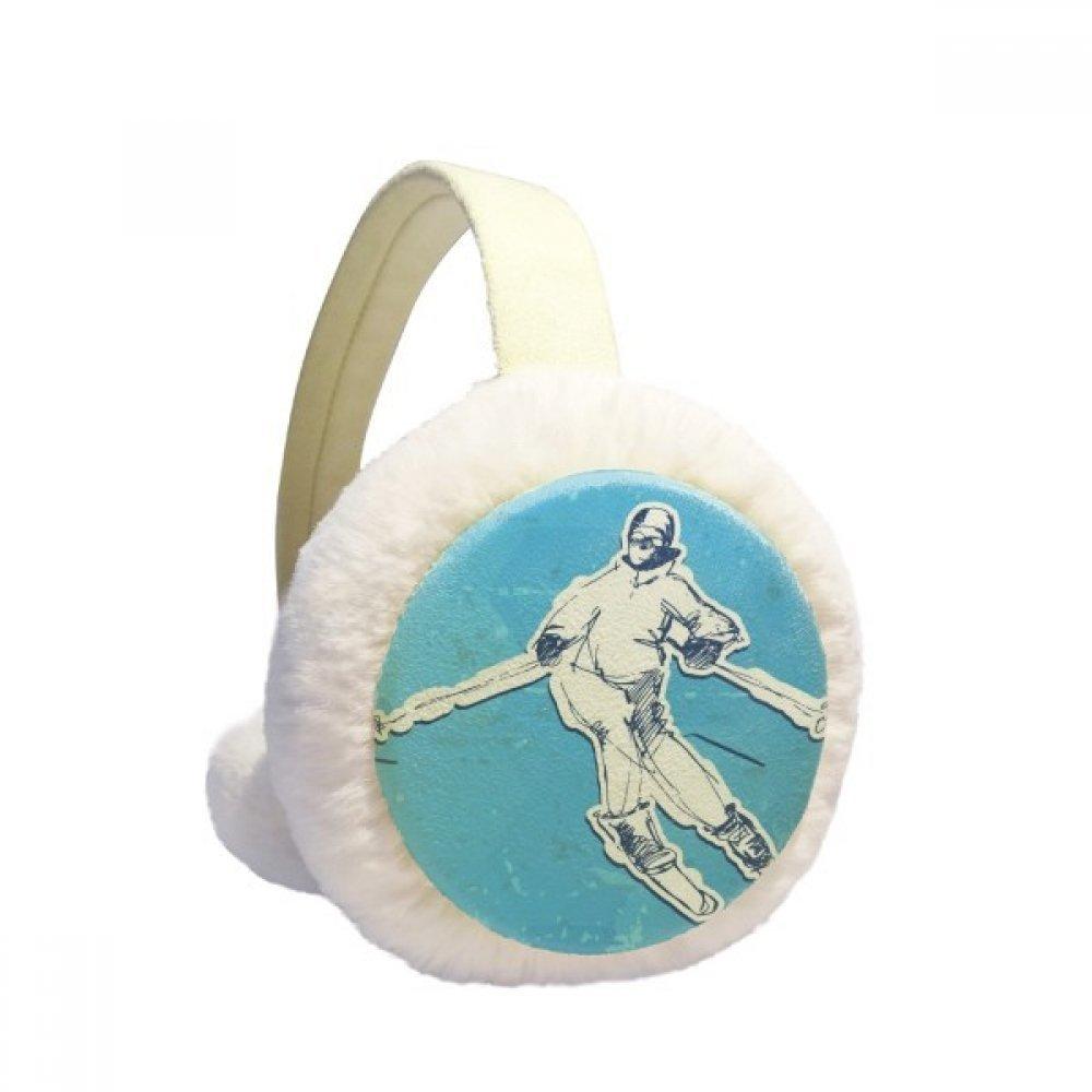 Winter Sport Snowboarding Illustration Winter Earmuffs Ear Warmers Faux Fur Foldable Plush Outdoor Gift