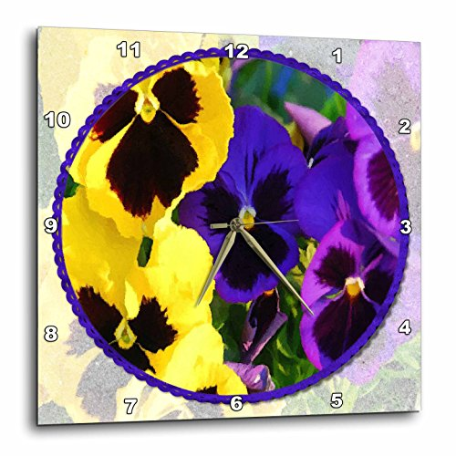 3dRose dpp_21292_1 Pansies in The Round Wall Clock, 10 by 10-Inch -