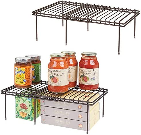 """mDesign Adjustable, Expandable Metal Wire Kitchen Cabinet, Pantry, Countertop Organizer Storage Shelves - Durable Steel, Non-Skid Feet - Up to 19.5"""" Wide - 4 Piece Set - Bronze"""
