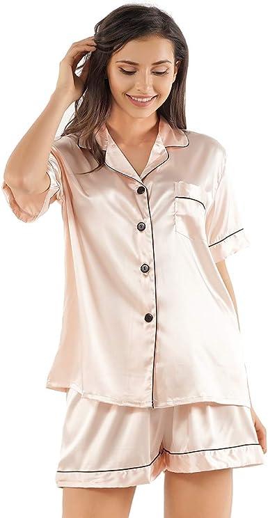 Shorts Silk Satin 2 Piece Sleepwear Pajamas Set NQ Mens Button Down Shirt